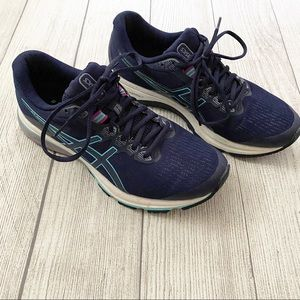 ASICS  GT 1000 Navy and turquoise sneakers